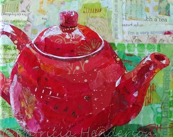 """I'M a LITTLE TEAPOT Original Paper Collage Teapot Painting 6 X 6"""" on Gallery wrapped canvas"""