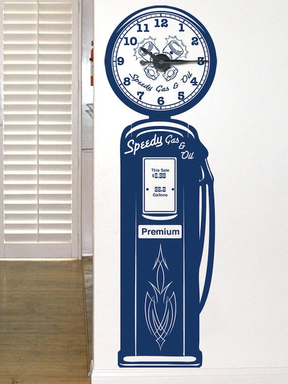 Gas Pump Clock Kit & Vinyl Wall Art - Custom Wording Available