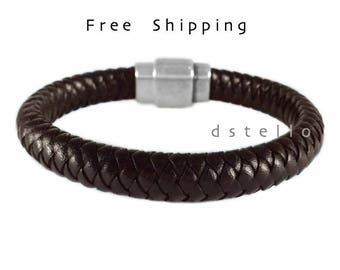 Genuine Spanish custom men's bracelet - Men's braided leather bracelet - Antique silver magnetic clasp - Anniversary gifts - Quality