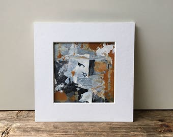 Abstract Painting, Acrylic Painting, Original Painting, Black and White Painting, Grey, Brown Painting, Abstract, Small Painting