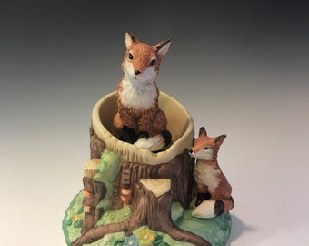 Ceramic Fox Music Box