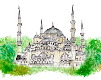 Blue Mosque Istanbul Fine Art Print Original Drawing Illustration