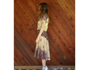 Floral Flutter Sleeve Boho Midi Dress - Vintage 70s - XS/S