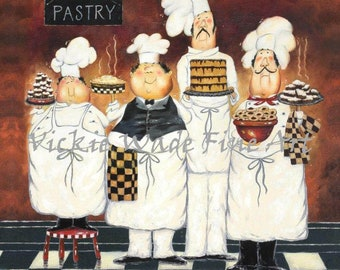 Chefs Art Print, fat chef paintings, chef art, chef kitchen art wall decor, four tall pastry chefs, bakers, four men, Vickie Wade art