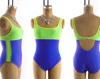 Vintage 80s Swimsuit // 1980s Swimsuit // NEON Swimsuit // One Piece Swimsuit // Color Block Swimsuit - sz XL