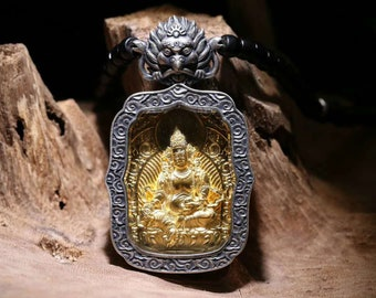 protection amulet Tibetan Jambhala Divinity in 925 sterling silver, gold plated 18 k.