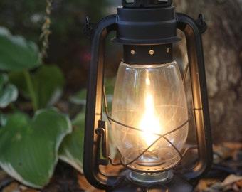 Electric Lantern Table Lamp, FLAT BLACK LANTERN, Electric Hurricane Lantern, Night Light, Rustic Lantern Light, Table Lamp