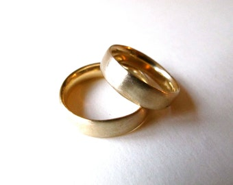 Hand made solid 14k yellow gold band ring simple domed commitment wedding stacking ring for men  gift for her everyday gold ring