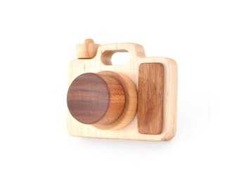 Wooden Toy Camera - Eco-friendly Imagination Toy - Pretend Play for a Baby, Toddler, or a Preschooler - Model A