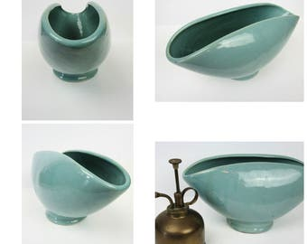 Mid Century Modern Turquoise Ceramic Planter~Pinched Top~Retro Mod Glazed Pottery Heavy Planter Flower Pot Vase