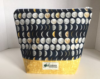 Knitting Project Bag, Wedge Bag, Zippered Bag, Sock Size, Moon Phases