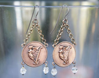 Classical Harp Earrings with Vintage Glass Beads French Brass Antique Vintage Style