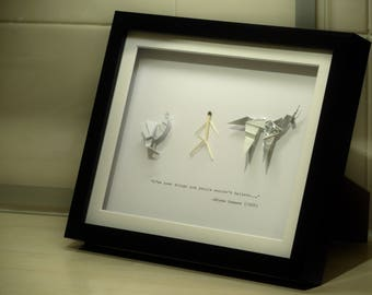Gaff's Blade Runner Origami Framed Collection and Hand Typed Quote - Three Origami Figures Mounted in an 8x10in (20x25cm) Box Frame