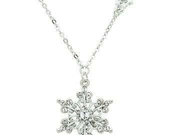 Silver-tone Swarovski Element Crystal Scroll Snowflake Necklace, 18+2 inch