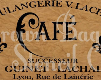 French Stencil - Boulangerie - CAFE  - 12x20 7.5 mil mylar