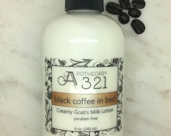 Black Coffee In Bed Coffee Scented Natural Goat Milk Lotion Moisturizer with Skin Softening Alpha Hydroxy Acid Paraben Free