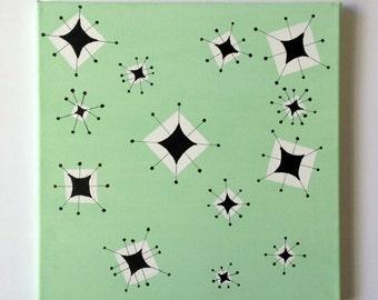 Mid Century Modern Wall art Atomic 1950s Starburst painting