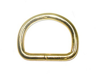 """1-1/2"""" D-Ring Brass Plated 10 Pack"""