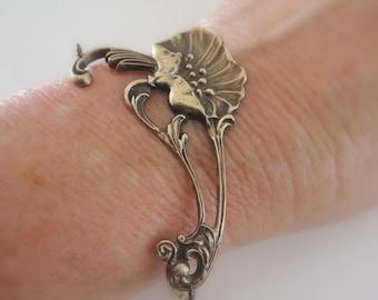 Vintage Bracelet - Art Nouveau Bracelet -  Poppy Jewelry - Flower Bracelet - Vintage Brass jewelry - handmade jewelry
