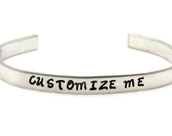 Custom Name Bracelet, Custom Name Cuff, Custom Stamped Cuff, Name Cuff Bracelet, Child's Name Cuff, Custom Stacking Cuff, Personalized Cuff