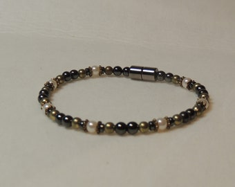 Pearls, Antique Gold, and Magnetic Hematite Bracelet