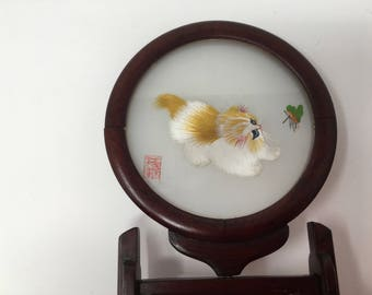 Su Double  Sided  Silk Embroidery of cat  in original box with stand