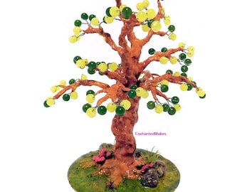 Yellow and Green Beaded Wire Tree | Beaded Bonsai Tree | Wire Tree Sculpture