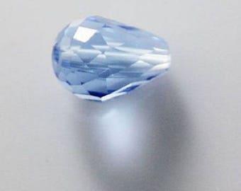 Drops 6 * 8 mm light blue faceted drop beads