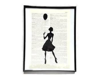 Lady balloon vintage art print encyclopedia old book pages image poster