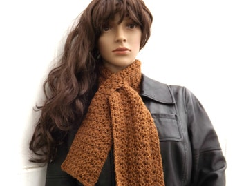Toffee Brown Keyhole Scarf - Adjustable Crocheted Cowl  - Brown Neckwarmer - Keynote Scarf - Winter Accessory - Unisex Scarf