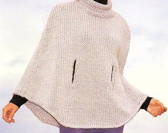 Ladies Cape, Easy Knit, Knitting Pattern. PDF Instant Download.