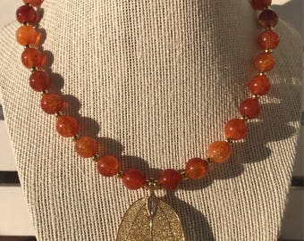 Agate and Gold Leaf Necklace