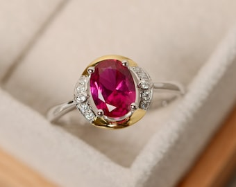 Lab ruby ring gold, oval ruby ring, promise ring gold, yellow gold