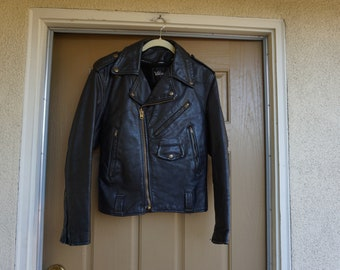 Vintage Black Leather Motorcycle / Biker Jacket MENS Size 36 small 1980s 1990s 80s 90s distressed by Wilsons