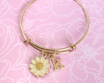 kids daisy bracelet - girls daisy bracelet - personalized flower bracelet - flower charm bracelet - young girls jewelry flower girl bracelet