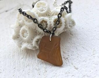 Brown Sea Glass Choker Necklace - Beach Glass Pendant - Vero Beach Florida -Minimalist Jewelry