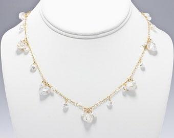 Keshi Pearl Necklace, Beach Wedding Jewelry, Bridal Necklace, Beach Bridesmaid Gift, Keishi Pearl Necklace