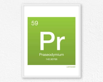 59 Praseodymium, Periodic Table Element | Periodic Table of Elements, Science Wall Art, Science Poster, Science Print, Science Gift