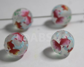 4 pieces 12mm Round Japanese TENSHA Twin Goldfish on frosted matt Surface (TS33)