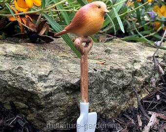 Bird and Shovel for Miniature Garden, Fairy Garden
