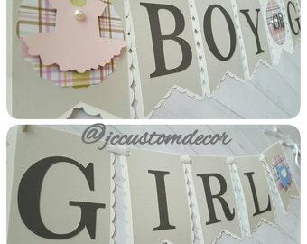 Gender Reveal Banner-Boy or Girl Banner-Gender Reveal-Boy or Girl-Gender reveal party-Pink or Blue Banner