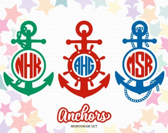 Anchors Monogram Frames (SVG, EPS, DXF Studio3) Nautical Cut Files for use with Silhouette Studio, Cricut Design Space, Cutting Machines