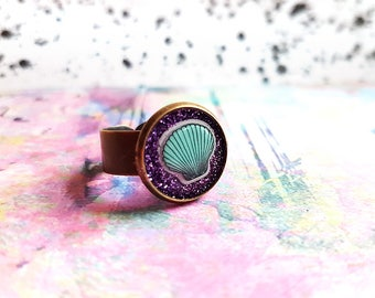 Glitter Mermaid Ring ~  Purple confetti resin shell ring