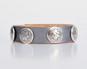 Leather Cuff Bracelet Hand-Dyed Silver + 5 Floral Conchos - Flowers Layering Bracelet Metallic Wristband Country Western Made in the South