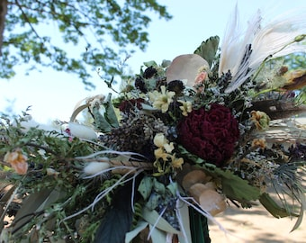 dried flower bouquet, dried bridal bouquet, greenery bouquet, dark green bouquet, woodland bouquet, peony bouquet, elopement bouquet, indie