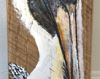 Hand painted pelican on reclaimed oak