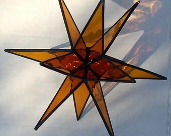Gold Moravian Star, Stained Glass Star, stars, 12 Point Star, Ornament, Home Decor, Hanging Suncatcher, Art Glass, Tiffany Glass Star, Gift