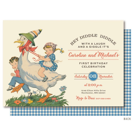 Nursery Rhyme First Birthday Mother Goose Invitations