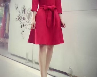 Red Quarter-Sleeve Kennedy Dress
