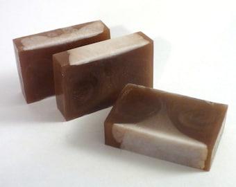 Mahogany Teakwood Handmade Glycerin Soap Bar Slice - Vegan, SLS Free - Mahogany, Cedar, Teakwood, Oak